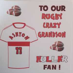 Personalised Birthday Card Hull KR Football Rugby Grandson Any Relation Any Team Any Colour