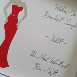 Personalised Prom Card Daughter Silhouette Any Relation Any Skin Tone Any Dress Colour