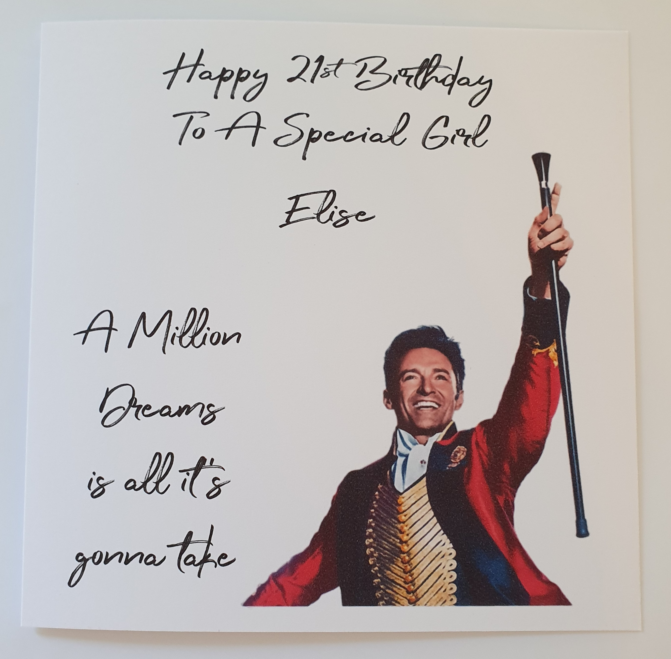 ANY NAME AGE RELATION THE GREATEST SHOWMAN PERSONALISED BIRTHDAY CARD
