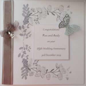 Personalised On Our 25th Wedding Anniversary Card Wife Husband Any Relation Any Occasion Any Colour