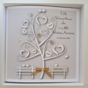 Personalised 8×8 50th Golden Anniversary Card Family Tree Wife Husband Any Year Any Colour