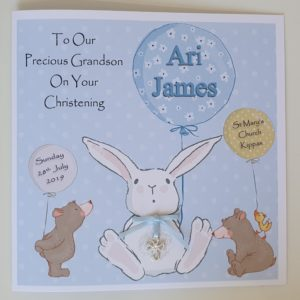 Personalised 8×8 Christening Card Boy Girl Grandson Any Relation Any Colour