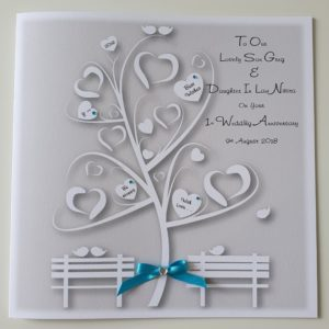 Personalised Anniversary Card Daughter Son In Law Turquoise Blue Any Relation Any Age Any Colour