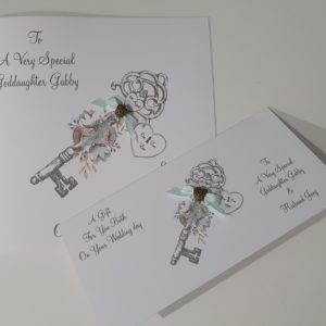 Personalised Wedding Day Card Steampunk Key Goddaughter Daughter Son In Law Any Relation Any Occasion