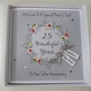 Personalised 25th Silver Anniversary Card Mum & Dad Husband Wife Any Year Any Colour Any Couple