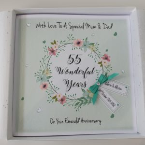 Personalised 55th Emerald Anniversary Card Mum & Dad Husband Wife Any Year Any Colour Any Couple