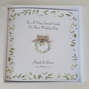 Personalised Beautiful Wedding Day Card Watercolour Bride Groom Special Couple Daughter Son Sister Brother