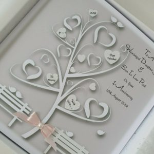 Personalised 1st Anniversary Card Daughter Son In Law Peach & Cream / Ivory Any Relation Any Age Any Colour