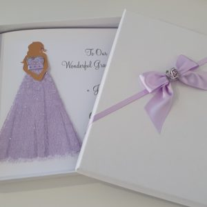 Beautiful Personalised Lace Dress Design Card Suitable For Birthday or Wedding Day Any Relation Any Occasion Any Colour