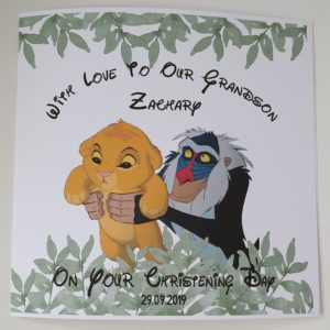 Personalised New Baby or Christening Card Lion King Simba Rafiki Theme