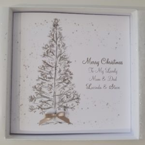 Personalised Christmas Cards Tree Design Mum & Dad / Grandma & Grandad Any Couple