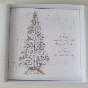 Personalised Christmas Cards Tree Design Daughter & Son In Law Any Couple LGBT