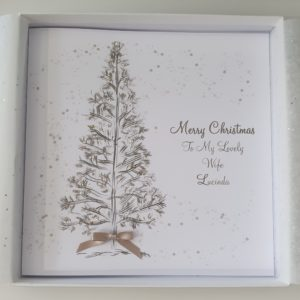 Personalised Christmas Cards Tree Design Wife Husband Girlfriend Boyfriend Fiancee