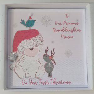 Personalised 8 x 8 Baby's 1st First Christmas Card Teddy Star Christmas Tree Granddaughter Grandson Any Relation