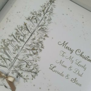 Personalised Christmas Cards Tree Design Mum & Dad Any Couple (SKU73)