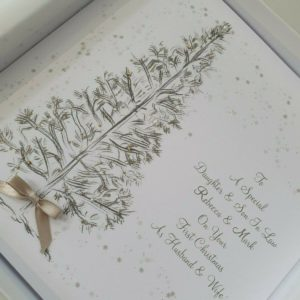 Personalised Christmas Cards Tree Design Daughter & Son In Law On Your First 1st Chrstmas – Sister Brother In Law – Any Couple – LGBT