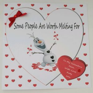 Large Personalised Valentine's Day Card Olaf Frozen Love Girlfriend Boyfriend Husband Wife Fiancee Gift Boxed Option
