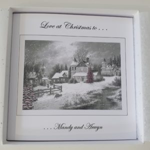 Personalised Christmas Traditional Black White Scenery Design Card With Pink Glitter Detail (SKU49)