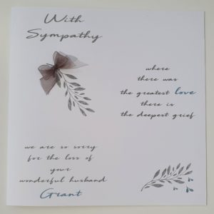 Personalised Bereavement Sympathy Card   Loss Of Husband   Any Relation   Any Colour