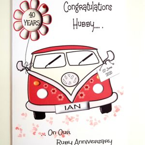 Personalised VW Camper Anniversary Card Van Any Occasion, Age Or Colour (SKU41)