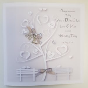 Personalised Wedding Card & Money Wallet Silver Sister Brother In Law Any Relation Or Occasion (SKU25)