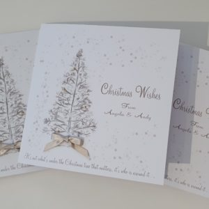 Personalised Christmas Cards Classic Christmas Tree Design Available In Multi Packs Any Wording Of Your Choice