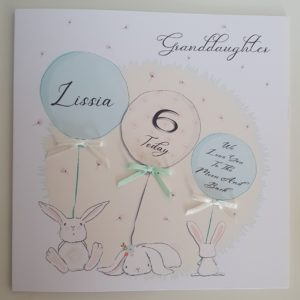 Personalised 6th Birthday Card Granddaughter Any Relation, Colour Or Age (SKU29)