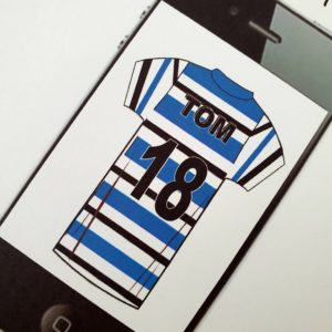 Personalised 8 x 8 Birthday Card 18th Son Mobile Phone Rugby Or Football Shirt Any Relation Any Age Any Colour