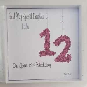Personalised 8 x 8 12th Birthday Card Daughter Any Relation Any Age Any Colour