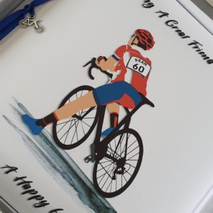 Personalised Birthday Card 60th Friend Racing Bike Cyclist Any Age Or Person (SKU26)