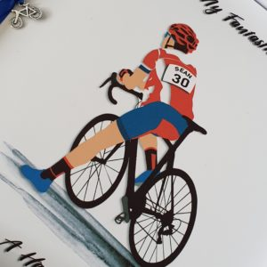 Personalised Birthday Card 30th Hubby Racing Bike Cyclist Any Age Or Person (SKU27)