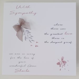 Personalised Bereavement Sympathy Card  Loss Of Grandmother  Any Relation or Colour (SKU14)