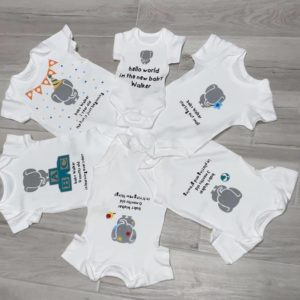 Personalised Baby Vests Keepsake Box – Set Of 6 – Newborn to 18 months Various Designs Available – Baby Boy Baby Girl Twins Triplets (SKU690)