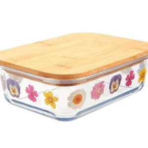 Pressed Flowers Glass Lunch Box (SKU632)