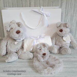 Dog Dean Musical, Soft Toy, Tuttle & Swaddle Baby Gift Set With Complimentary Greeting Card (SKU619)