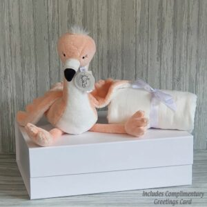 Flamingo Fay Soft Toy & Swaddle Baby Gift / Children's Gift Set & Complimentary Greeting Card (SKU620)