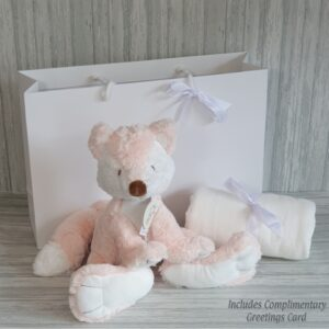Foxy Fox Soft Toy & Swaddle Baby Gift / Children's Gift Set & Complimentary Greeting Card (SKU621)