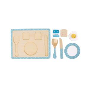Blue Kitchen Breakfast Wooden Playset (SKU636)