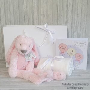 Rabbit Richie Pink Soft Toy & Swaddle Baby Gift / Children's Gift Set & Complimentary Greeting Card (SKU618)