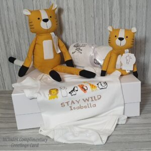 Tyson Tiger Woven Cotton & Plush Toy, Rattle, Vest & Swaddle Baby Gift / Sibling Gift Set & Complimentary Greeting Card (SKU615)