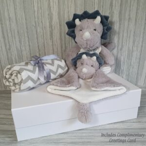 Triceratops Tris Plush Toy, Tuttle & Swaddle Baby Gift / Sibling Gift Set & Complimentary Greeting Card (SKU616)