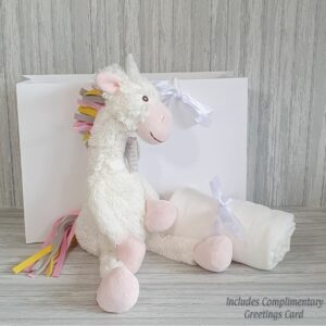 Unicorn Yara Soft Toy & Swaddle Baby Gift / Children's Gift Set & Complimentary Greeting Card (SKU623)