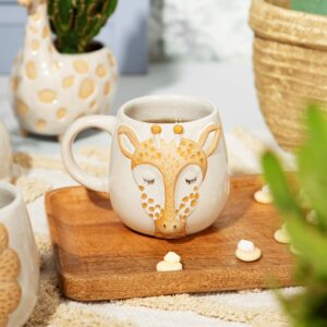 Set Of Bohemian Twist Leo Lion & Gina Giraffe Safari Mugs (SKU631)