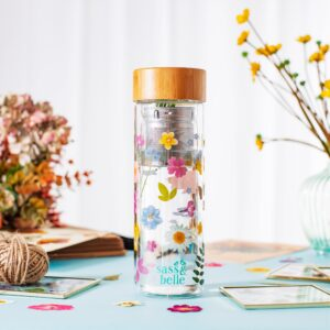 Pressed Flowers Glass Water Bottle With Infuser (SKU633)