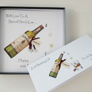 Personalised 50th Birthday Card Son In law Whiskey Any Relation, Age Or Tipple (SKU627)