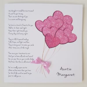 Personalised Get Well Card Suitable For Cancer Patients Auntie Any Person Or Colour (SKU414)
