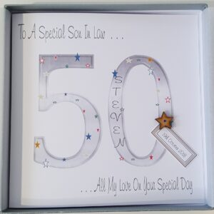 Personalised 50th Birthday Card Son In Law Any Relation Or Age (SKU419)