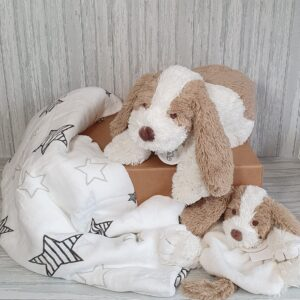 Dog David Plush Toy, Tuttle & Swaddle Baby Gift / Sibling Gift Set & Complimentary Greeting Card (SKU599)