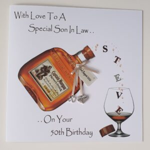 Personalised 50th Birthday Card Son In law Rum Any Relation, Age Or Tipple (SKU376)