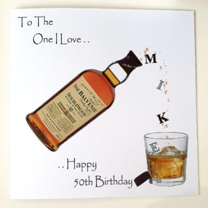 Personalised 50th Whiskey Birthday Card Husband Any Relation, Age Or Tipple (SKU402)